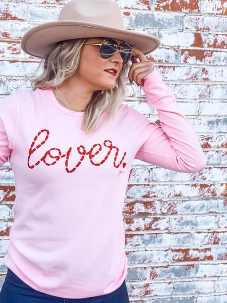 Lover - Stitched Effect - Long-Sleeve Pink Thermal - Reg/Plus