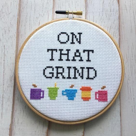 On That Grind DIY Cross Stitch Kit