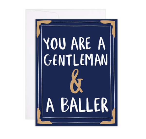 Gentleman & a Baller Letterpress Gold Foil Card