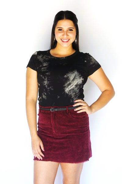 Burgundy Mineral Wash Corduroy Mini Skirt