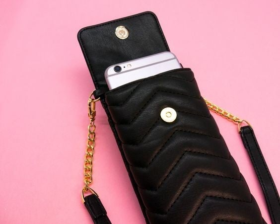 Mini Crossbody Phone Wallet - Black