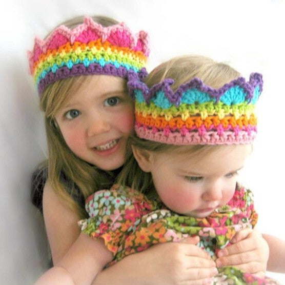 Baby/Toddler Soft Crochet Rainbow Crown