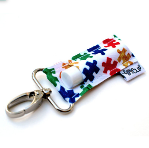 LippyClip Lip Balm Holder - Autism Awareness Puzzle Pieces