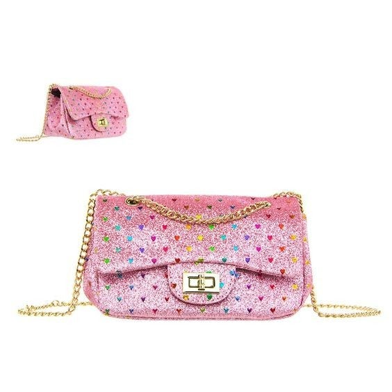 Let Your Love Shine - Rainbow Heart Pink Glitter Crossbody