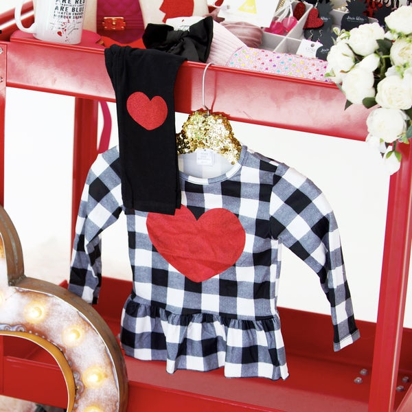 Kids - Red Glitter Magnolia Plaid Peplum Top & Pants Set