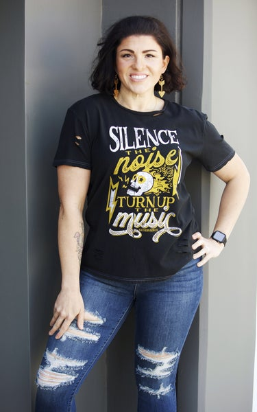 Silence the Noise, Turn Up the Music - Distressed Tee