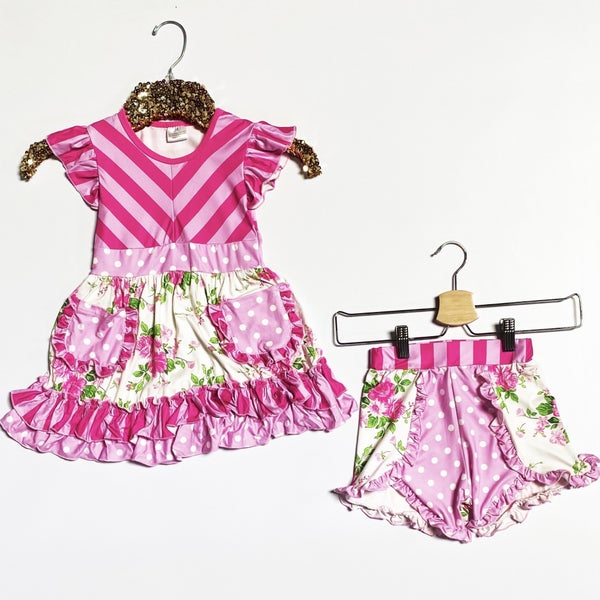 KIDS - Pink Chevron Dress & Matching Bloomers