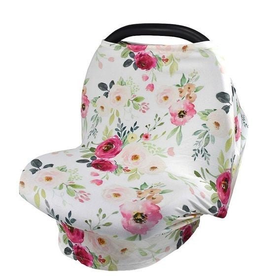 White Floral - 4-in-1 Nursing/Carseat Cover