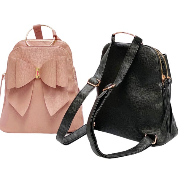 Bow Front Faux-Leather Backpack Handbag