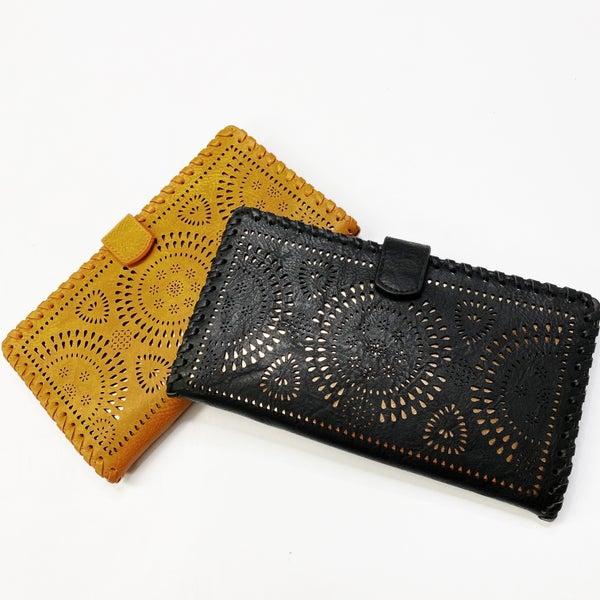 Laser Cut Faux Leather Wallet Clutch