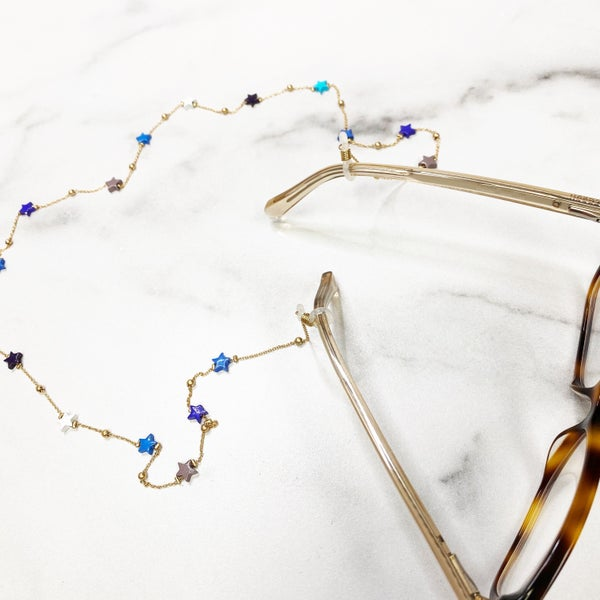 Blue and White Star with Gold Chain Eyeglass Chain