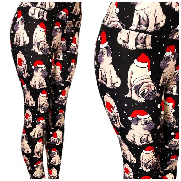 Kids & Adult - Pug Santa - Leggings - Reg/Plus