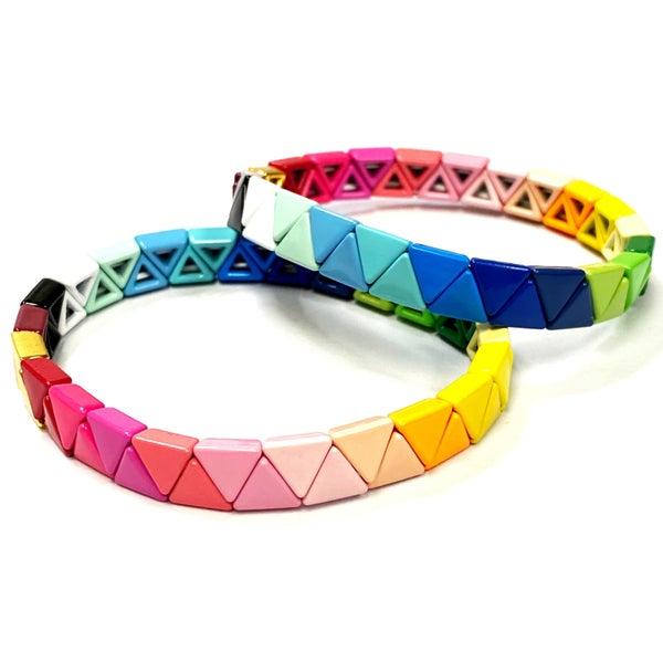 Full Spectrum Rainbow Triangle Enamel Tile Bead Stretch Bracelet