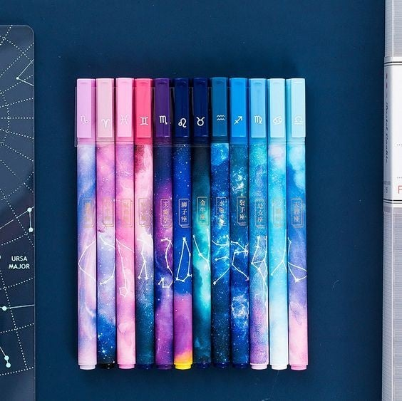 Zodiac Constellation Gel Pen Set - 12 pack