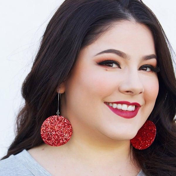 Vegas in Scarlet - Dangly Earrings
