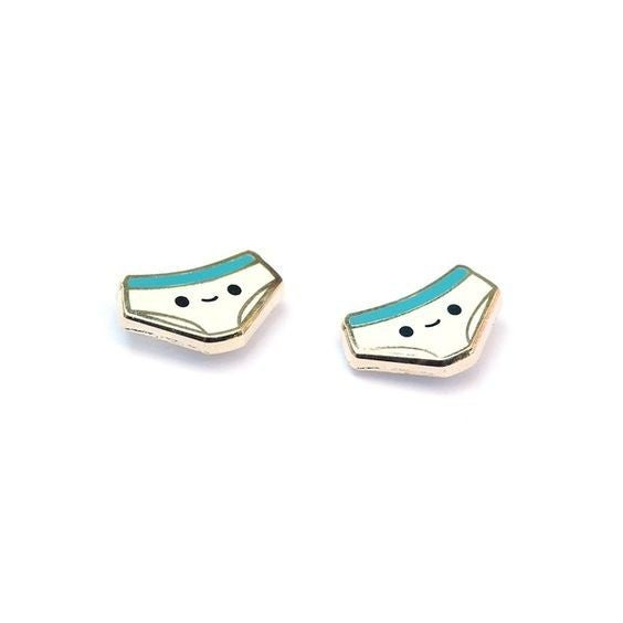 Tightie Whitie - 22k Gold Plated Stud Earrings