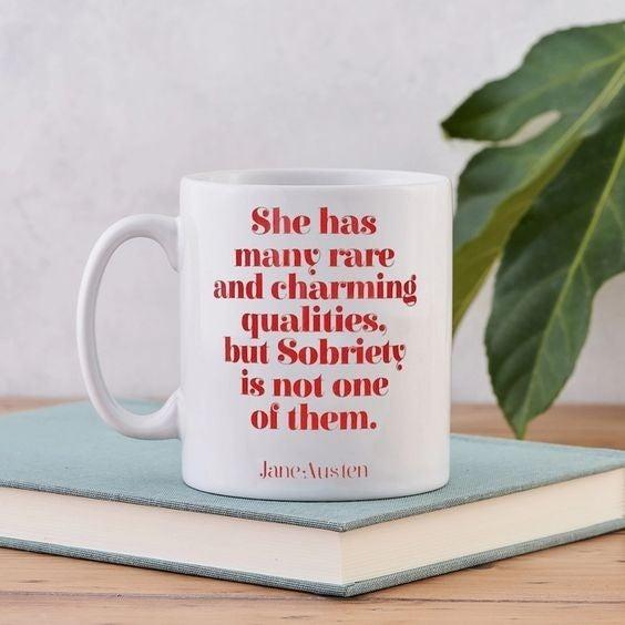 Funny Jane Austen 'Sobriety' Mug