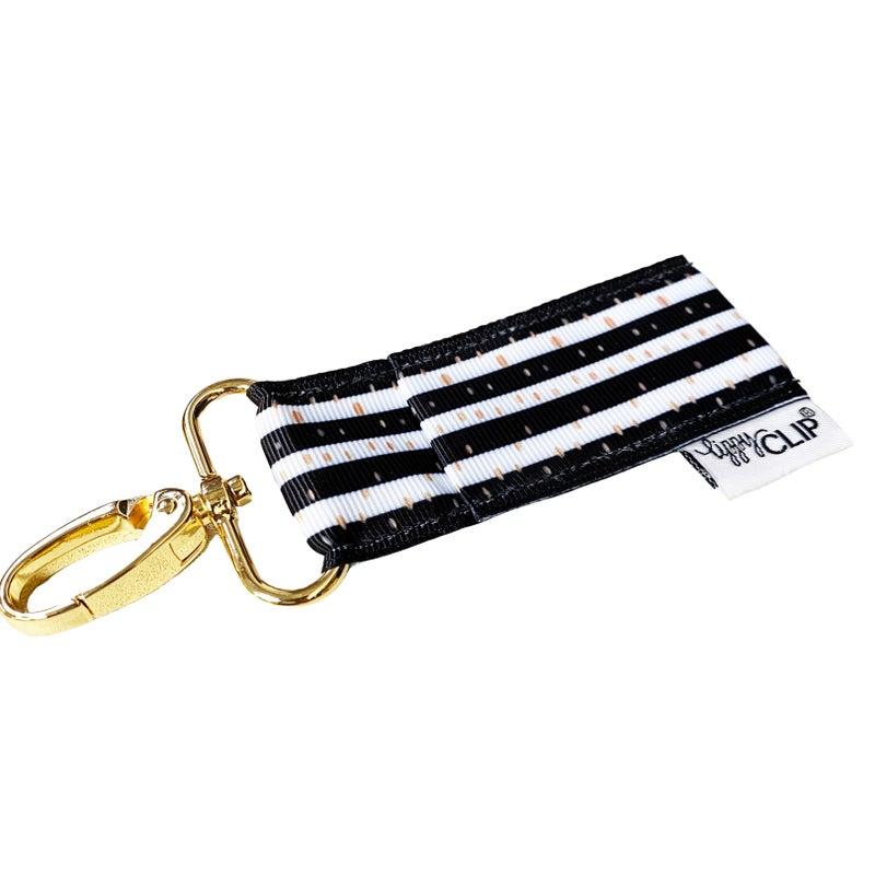 LippyClip Lip Balm Holder - Black with Gold Polka Dots