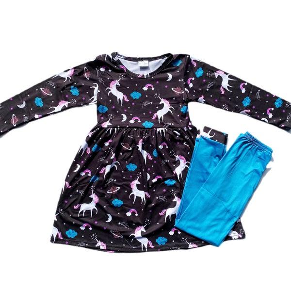 KIDS - Space Unicorns - The Girl Next Door Dress w/LEGGINGS!