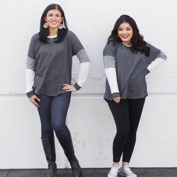 Charcoal Waffle Sleeve Long-Sleeve Sweater Top - JLB