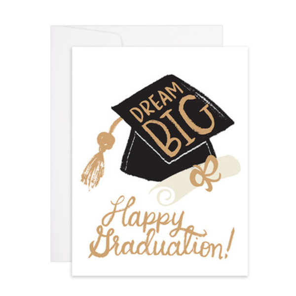 Dream Big Graduation Letterpress Gold Foil Card