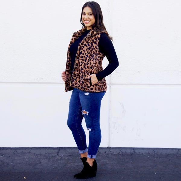 Faux Fur Leopard Zip-Up Vest with Pockets - Reg/Plus