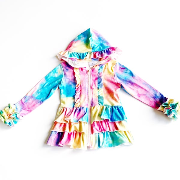 Kids - Tie-Dye Tiered Ruffle Hoodie Sweatshirt