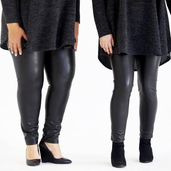 Black Faux Leather Knit Leggings - Reg/Plus