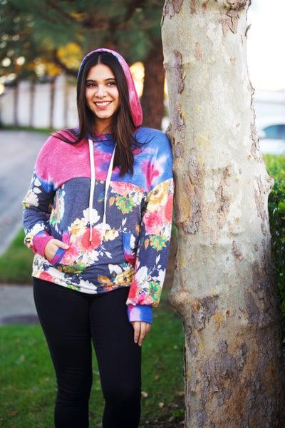 Tie-Dye & Floral - DreamCloud Hoodie - Reg/Plus