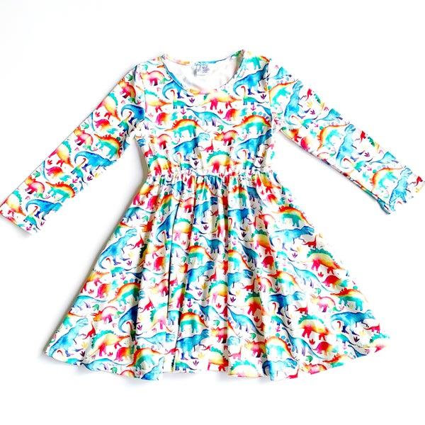 KIDS - Rainbow Dinosaur - The Girl Next Door Dress