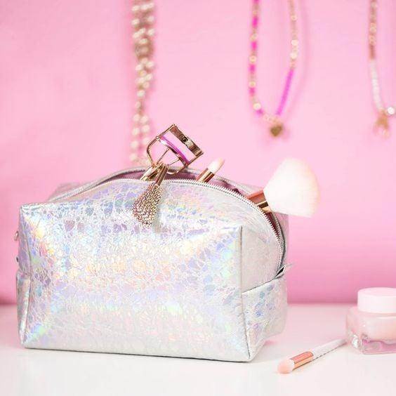 Holographic Makeup Bag Silver