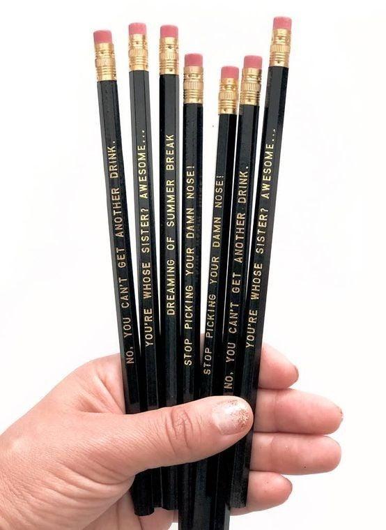 #TeacherLife - 7 Black Pencils - Gift Set