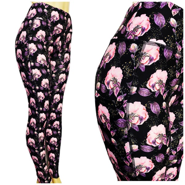 Kids + Adult: Blush Bouquet - Leggings w/Pockets - Reg/Plus