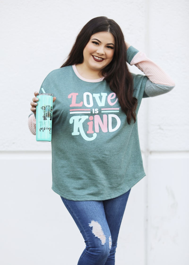 Love Is Kind - Long-Sleeve Waffle Knit Top