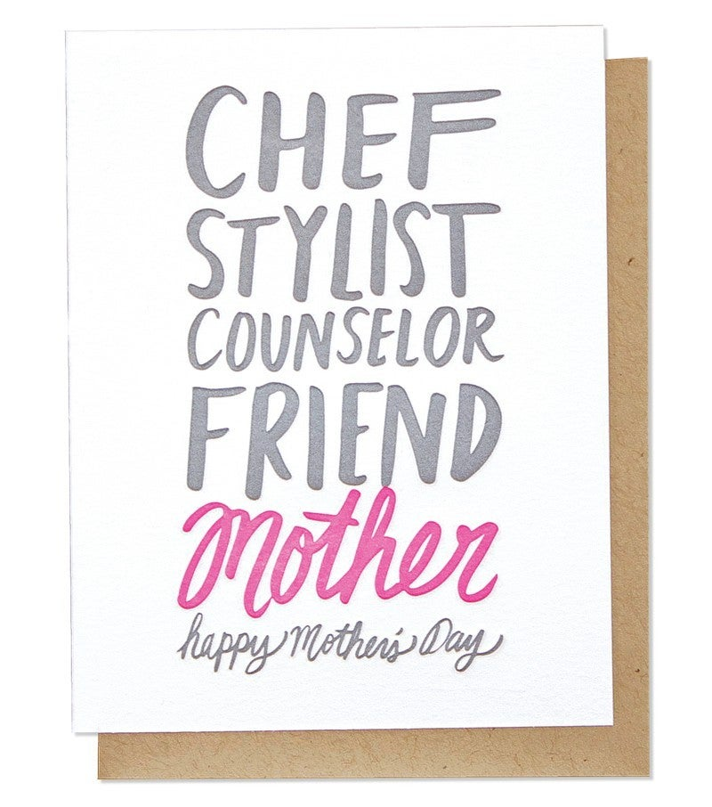 Mother's Day Adjectives - Letterpress Card
