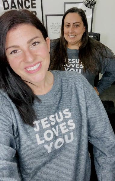 Jesus Loves You - Corded Fleece Pullover V-Neck Sweater - Reg/Plus - JLB