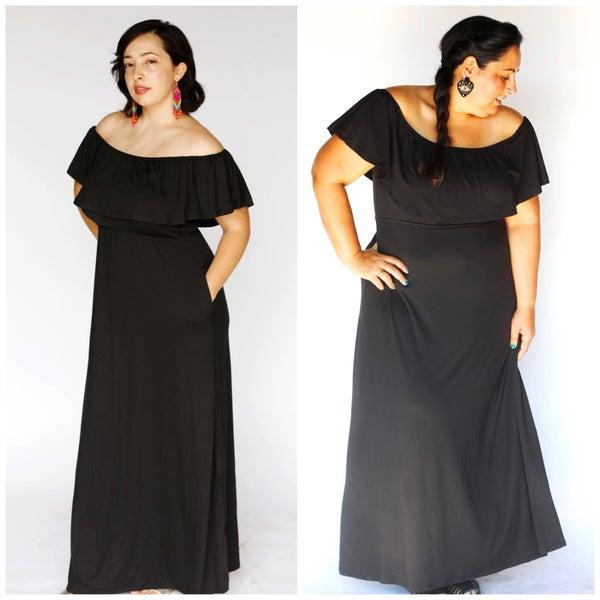 Black Off the Shoulder Maxi Dress - Reg/Plus