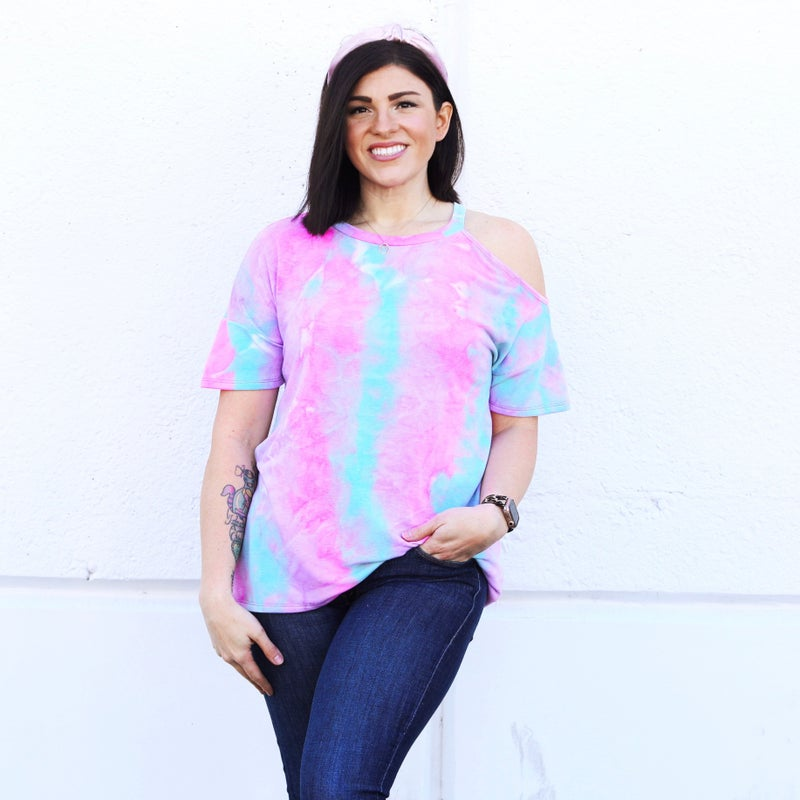 Cotton Candy Tie-Dye - Cold Shoulder Classic Tee - Reg/Plus