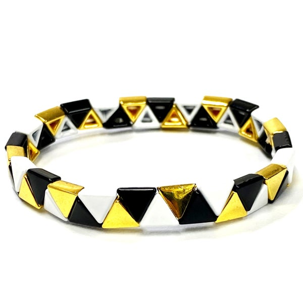 Black Gold and White Triangle Enamel Stretch Tile Bead Bracelet