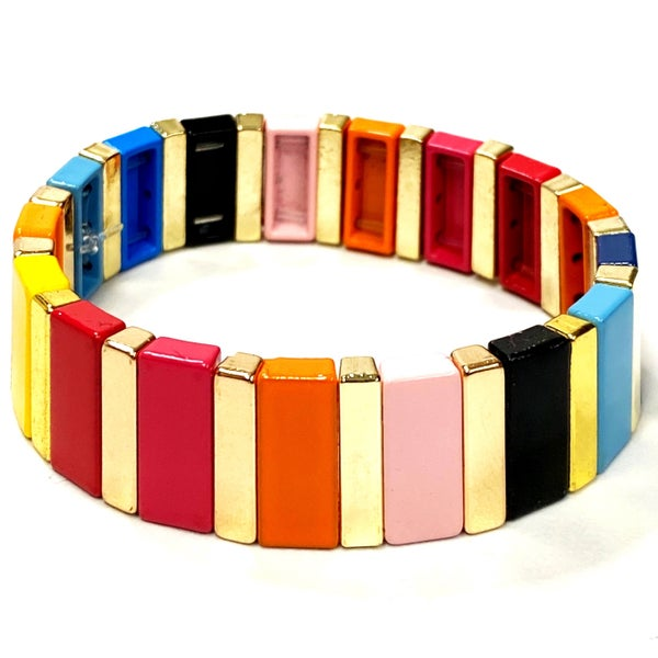 Chunky Rainbow and Gold Enamel Tile Bead Stretch Bracelet