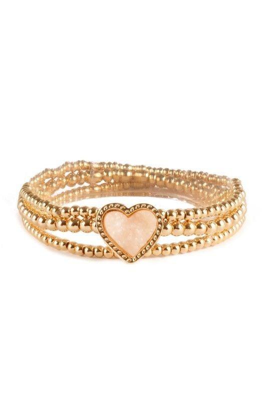 All My Lovin' - Druzy Heart Stretch Bracelet Stack