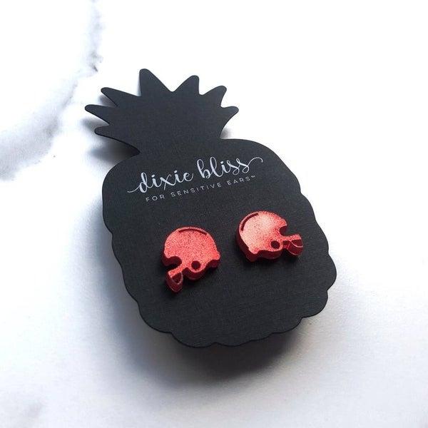Red Football Helmet - Stud Earrings