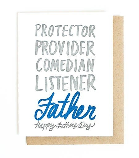 Father's Day Adjectives - Letterpress Card