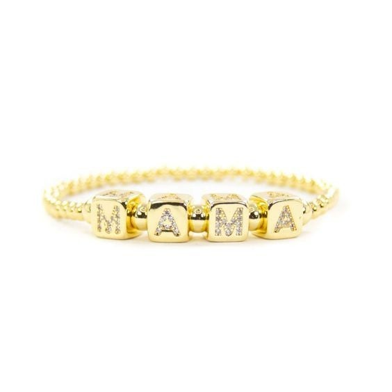 18k Mama Pavé Bracelet - Available in Standard & Extended Wrist Sizes!