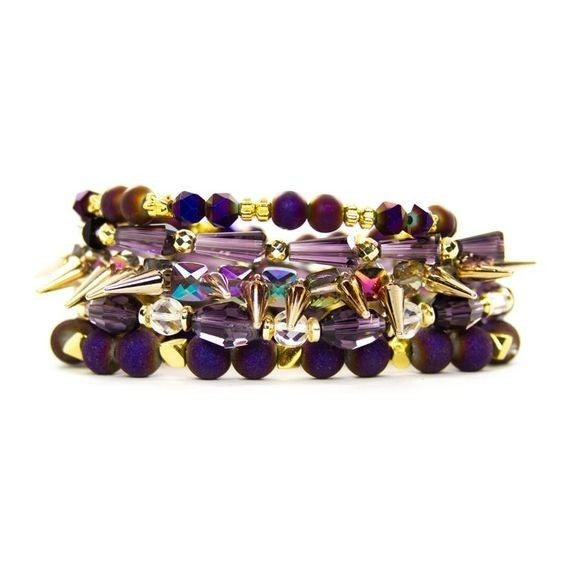Orchid Purple Bracelet Stack - Available in Standard & Extended Wrist Sizes!