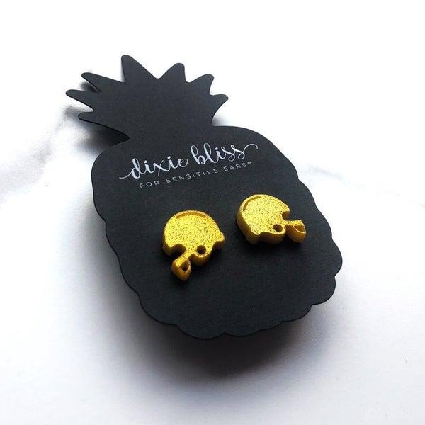 Gold Football Helmet - Stud Earrings