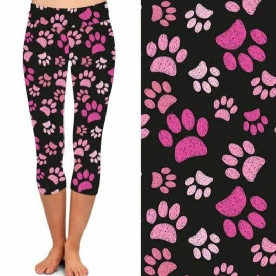 Paw Prints On My Heart - Capri Leggings - Reg/Plus