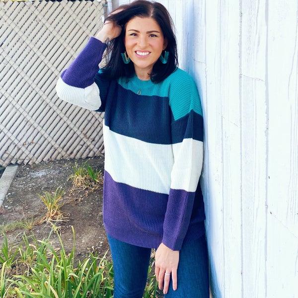 The Mandy Sweater - Cool Jewel Colorblock - Reg/Plus