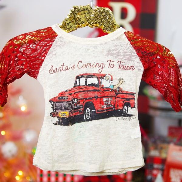 KIDS - Santa's Coming to Town - Lace Raglan Sleeve Tee