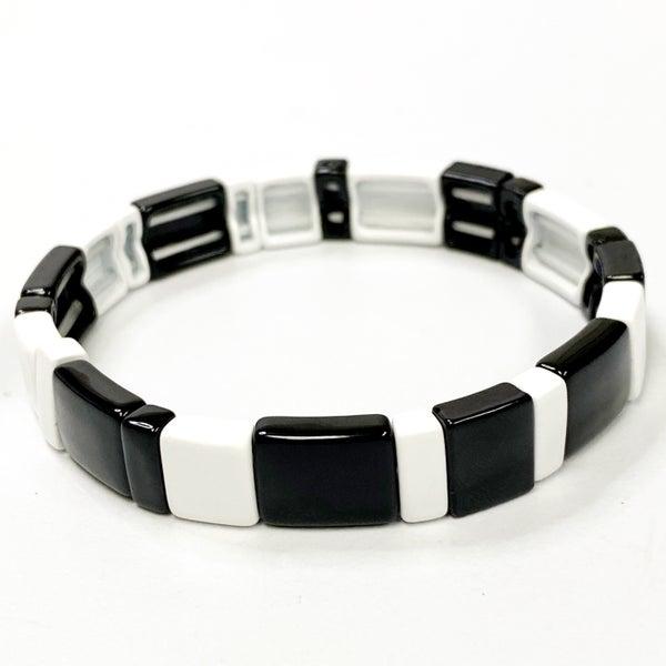 Glossy Black & White Enamel Stretch Tile Bead Bracelet
